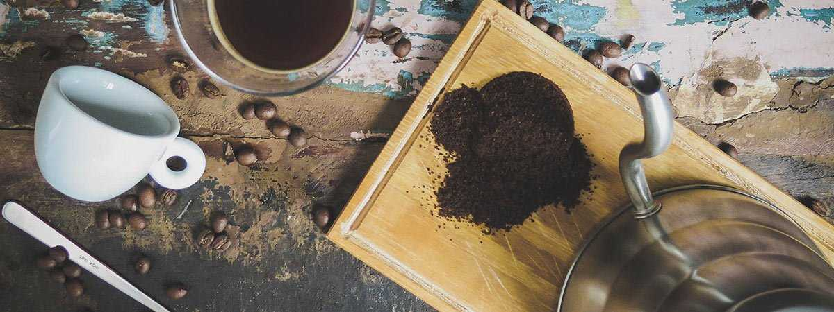 coffee grounds with a kettle