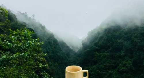 coffee cup on mountains