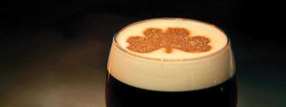 irish coffee with clover art