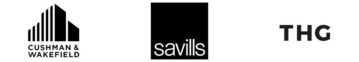 Cushman and Wakefield, Savills and THG logos
