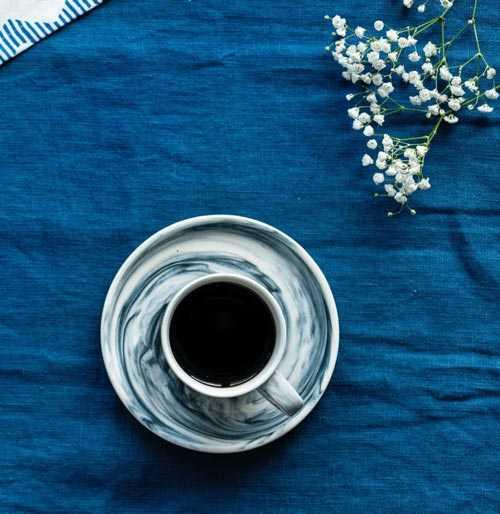 blue coffee set up