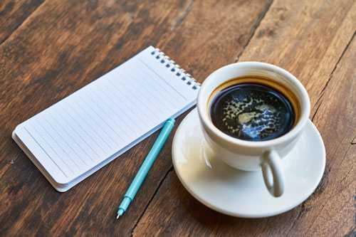 espresso and notebook