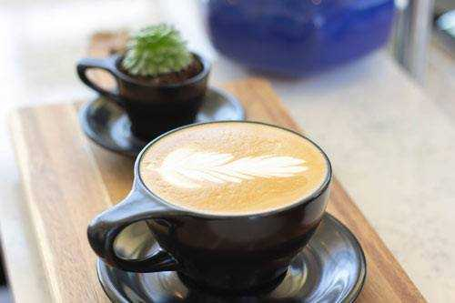 flat white with feather latte art