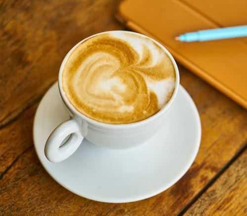 latte in white mug