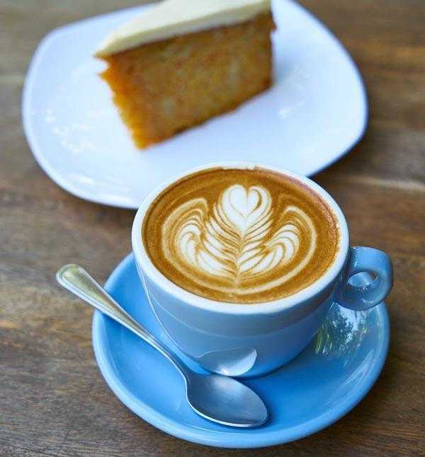 latte with piece of cake