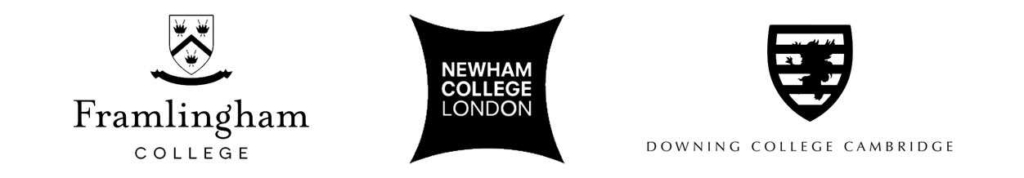 framlingham college, newham college london and downing college cambridge logos