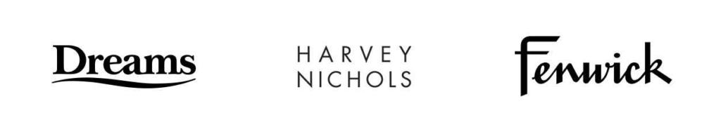 Dreams, Harvey Nichols and Fenwick logos
