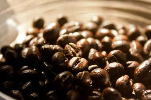 roasted coffee beans in a jar