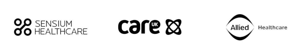 Sensium, Care UK and Allied logos