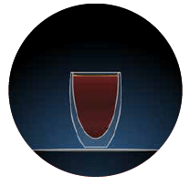 graphic for black coffee illustration of a glass with dark brown contents against a dark blue background in a circle there is a light grey dotted line to the left hand side