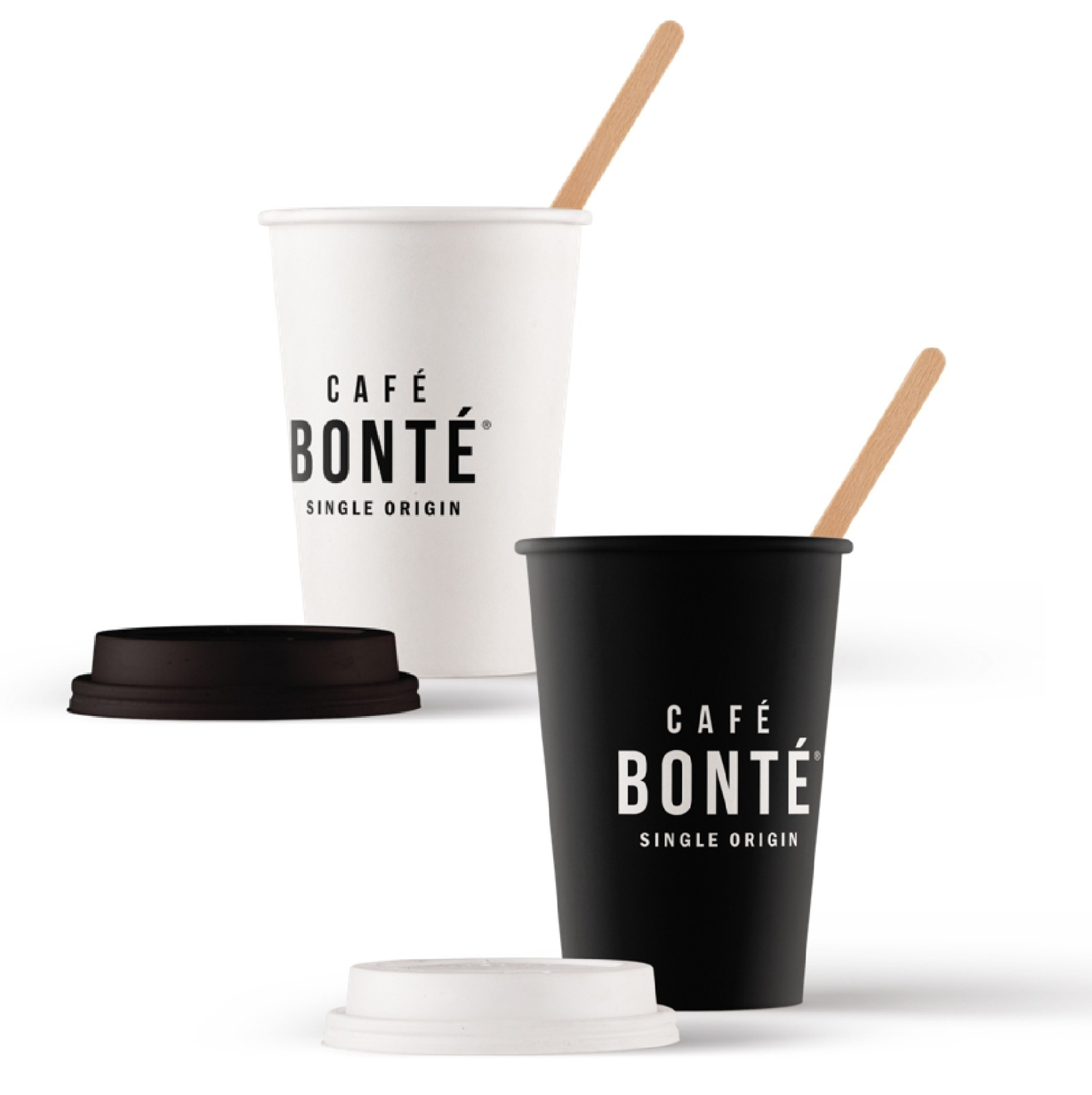 Cafe Bonte black and white takeout cups