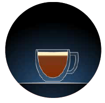decaf options illustration a clear glass with dark brown contents with a cream top against a dark blue background in a circular image