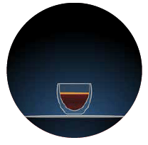 espresso illustration of a small glass with dark brown contents against a dark blue background within a circular shape there is a light grey dotted line to the left hand side