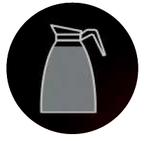 grey jug inside a black circle with a vertical dotted line to the left hand side