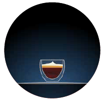 macchiato illustration of a small glass with dark brown contents and cream froth on top set against a dark blue background in a circular shape there is a light grey dotted line to the right hand side