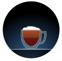 MOCHACCINO graphic clear cup with brown interior and white top against a dark blue background in a circular shape vertical dotted line to the left hand side of the graphic