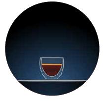 strong black coffee illustration of a small glass with dark brown contents set against a dark blue background within a circular shape there is a light grey dotted line to the left hand side