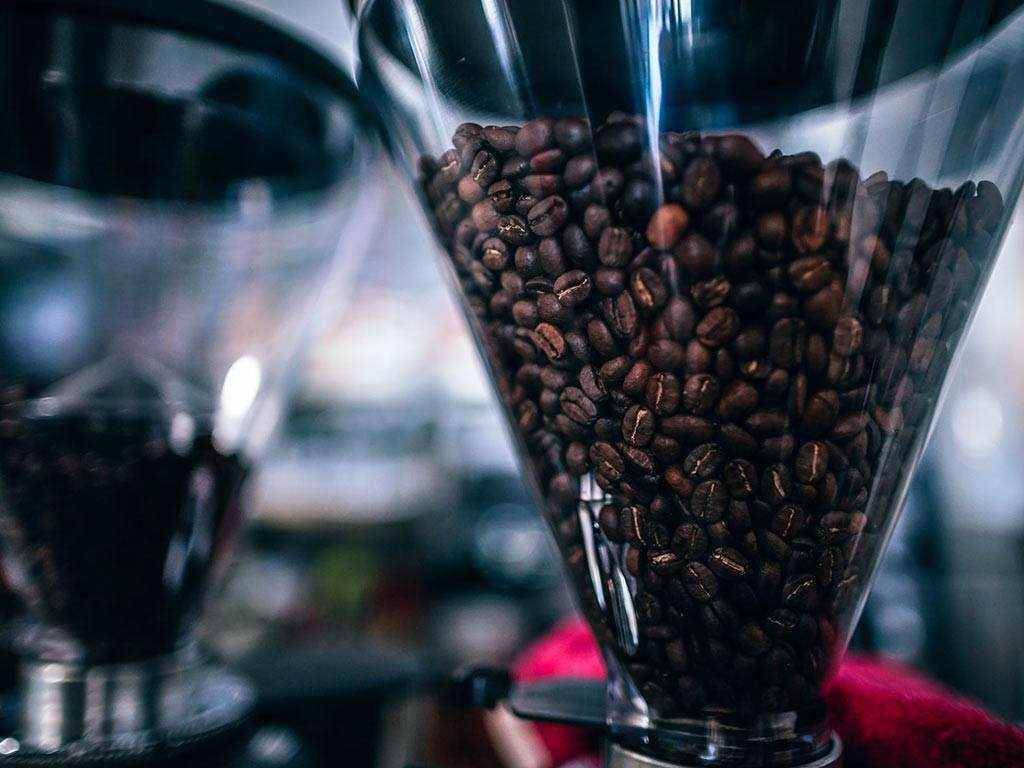 hopper full of coffee beans
