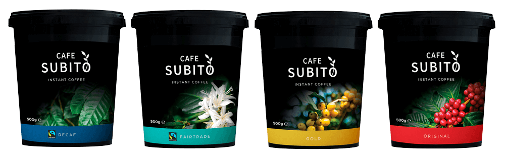 Tubs of cafe subito instant coffee