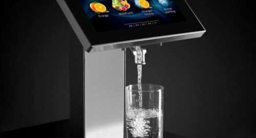Juicetouch undercounter touchscreen in use water juice driptray touch sparkling