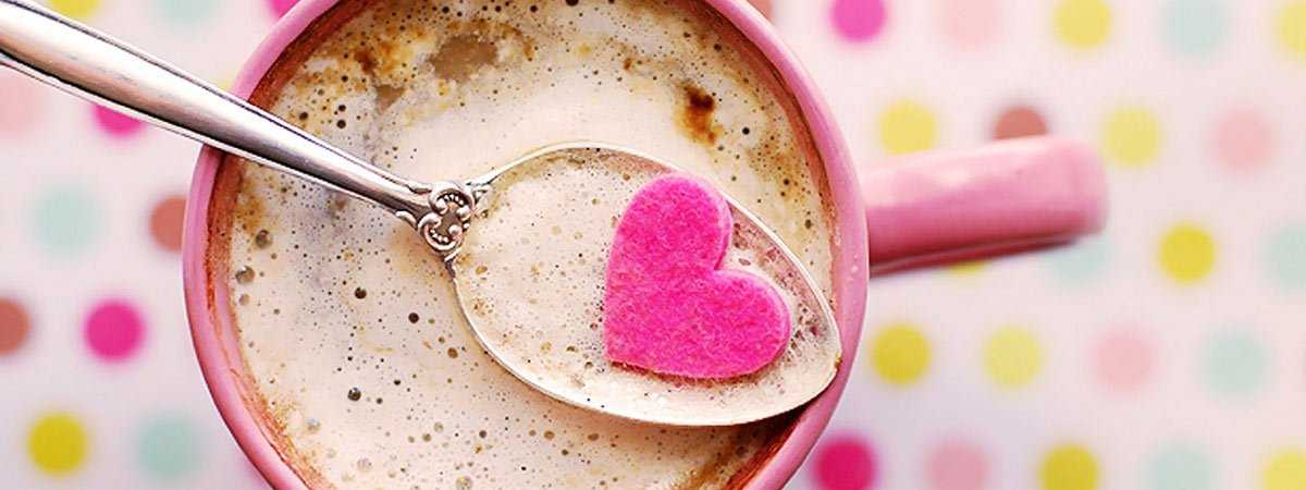 coffee with a heart on a spoon