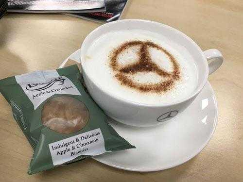 mercedes benz coffee art