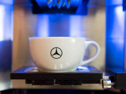 mercedes benz showroom coffee
