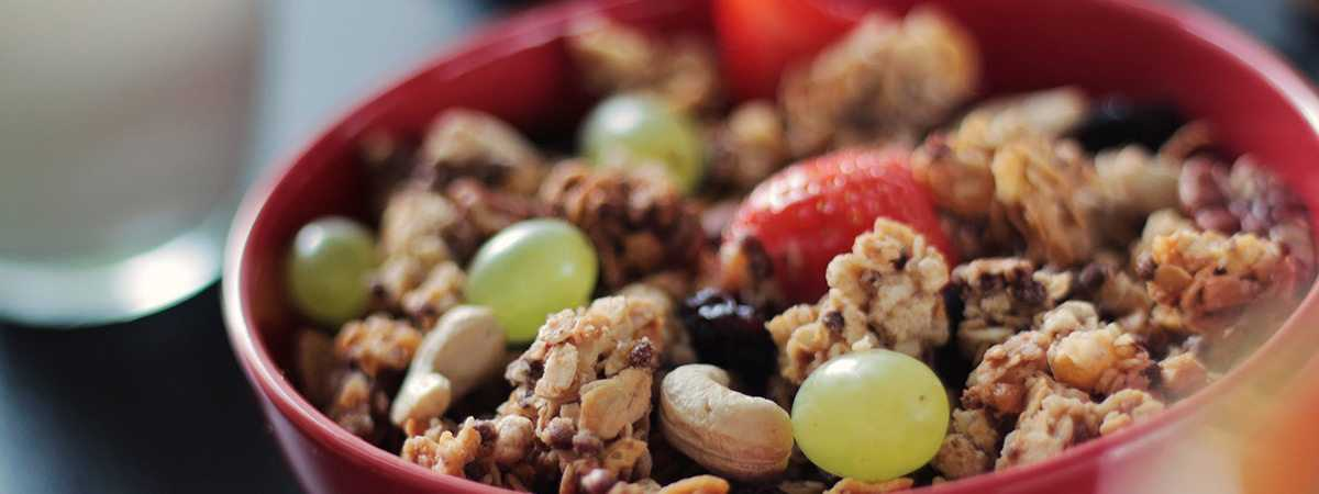 granola fruit and nut bowl