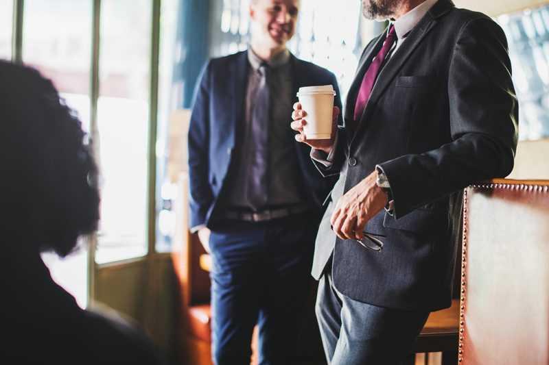 employees chatting on their coffee break