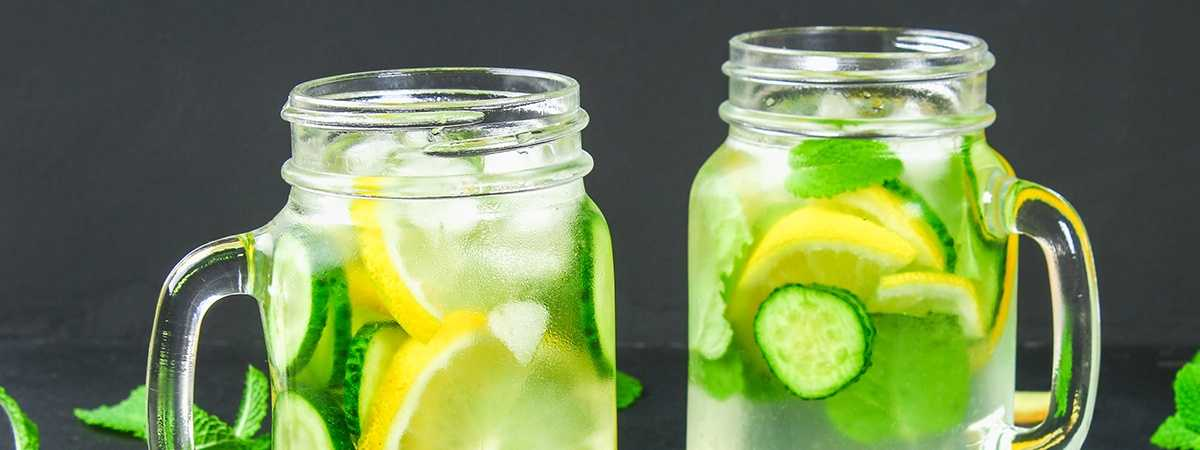 flavoured cucumber and lemon water