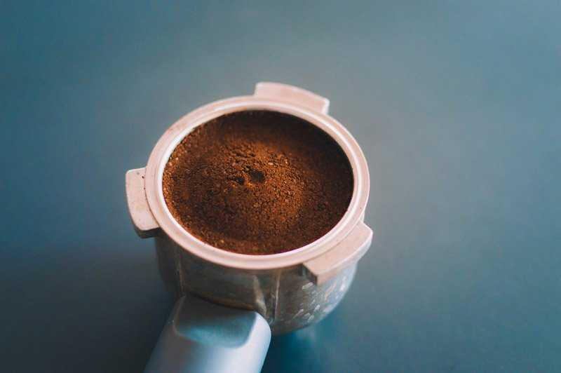 ground coffee in group head