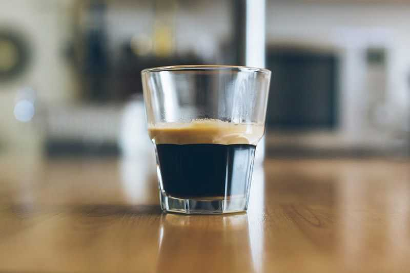 shot of espresso in a glass