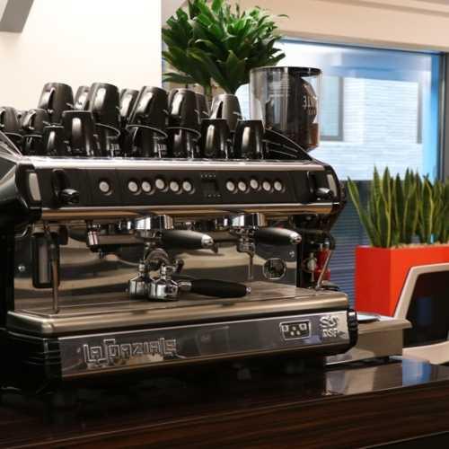 Liquidline showroom with traditional espresso machine