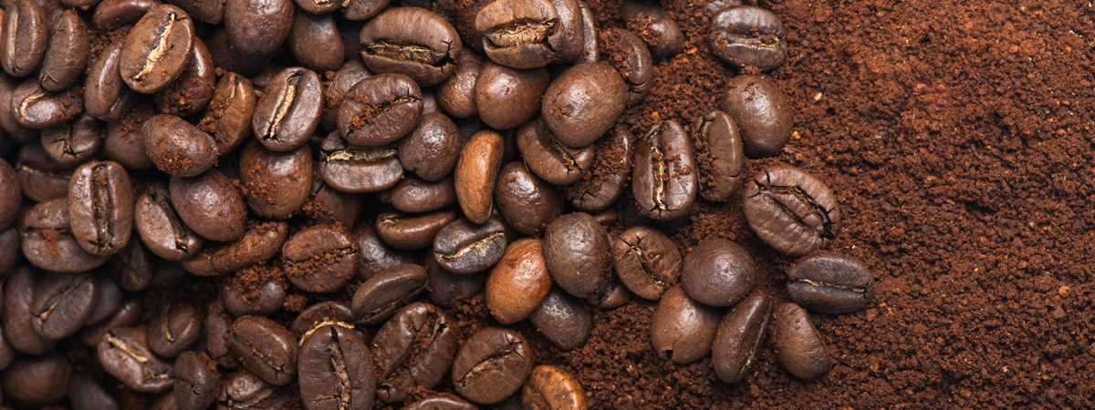 coffee beans and ground coffee beans