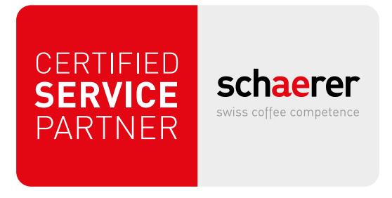 Left:Red square white text reading CERTIFIED SERVICE PARTNER Right: Schaerer Logo in Black with the ae in red above text reading swiss coffee competence