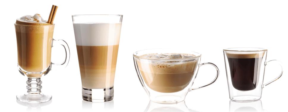 range of coffee based drinks