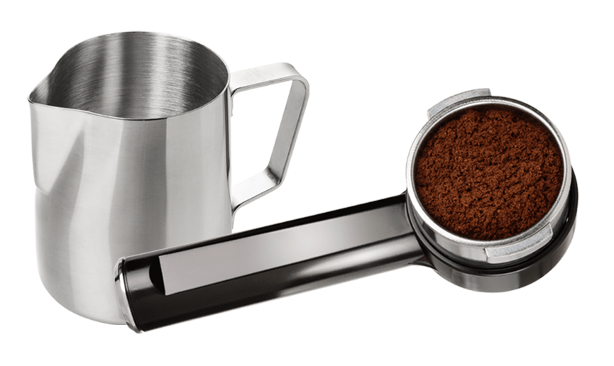 Metal jug and group handle filled with ground coffee