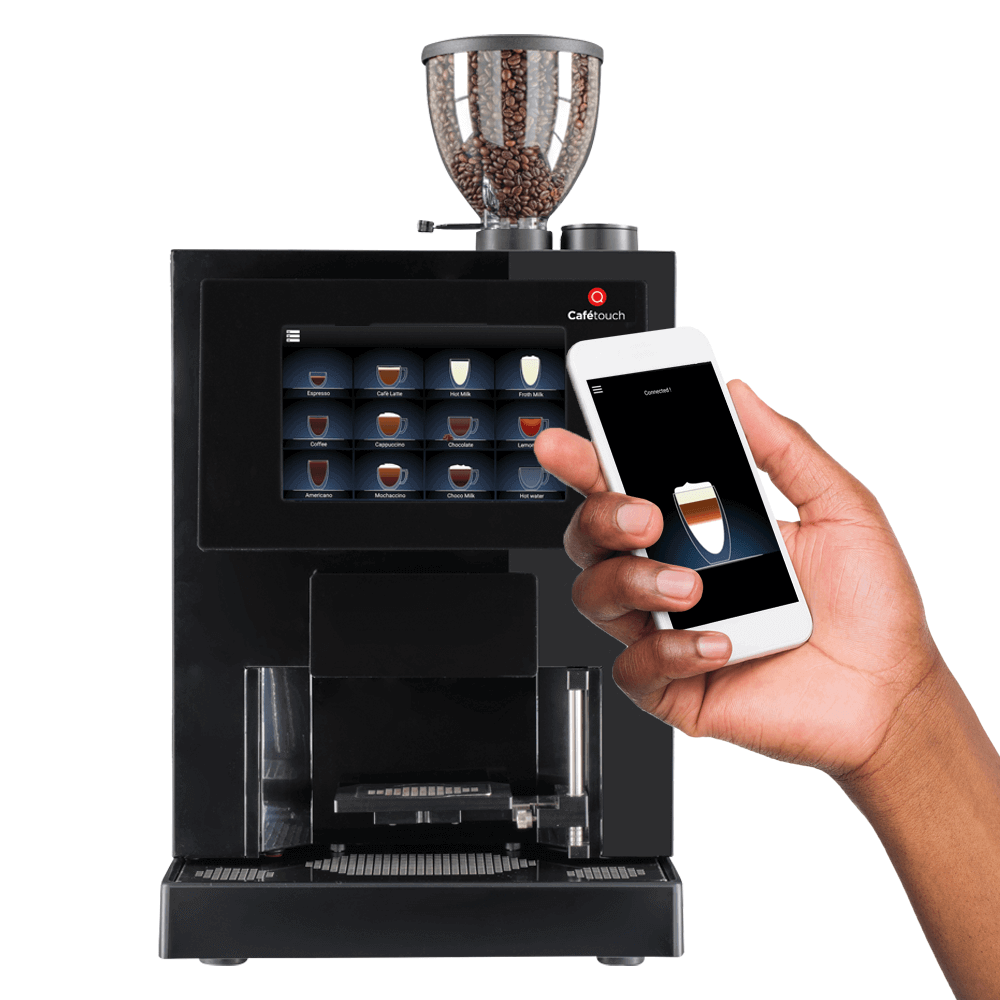 Cafetouch 8 coffee machine being operated by smartphone app