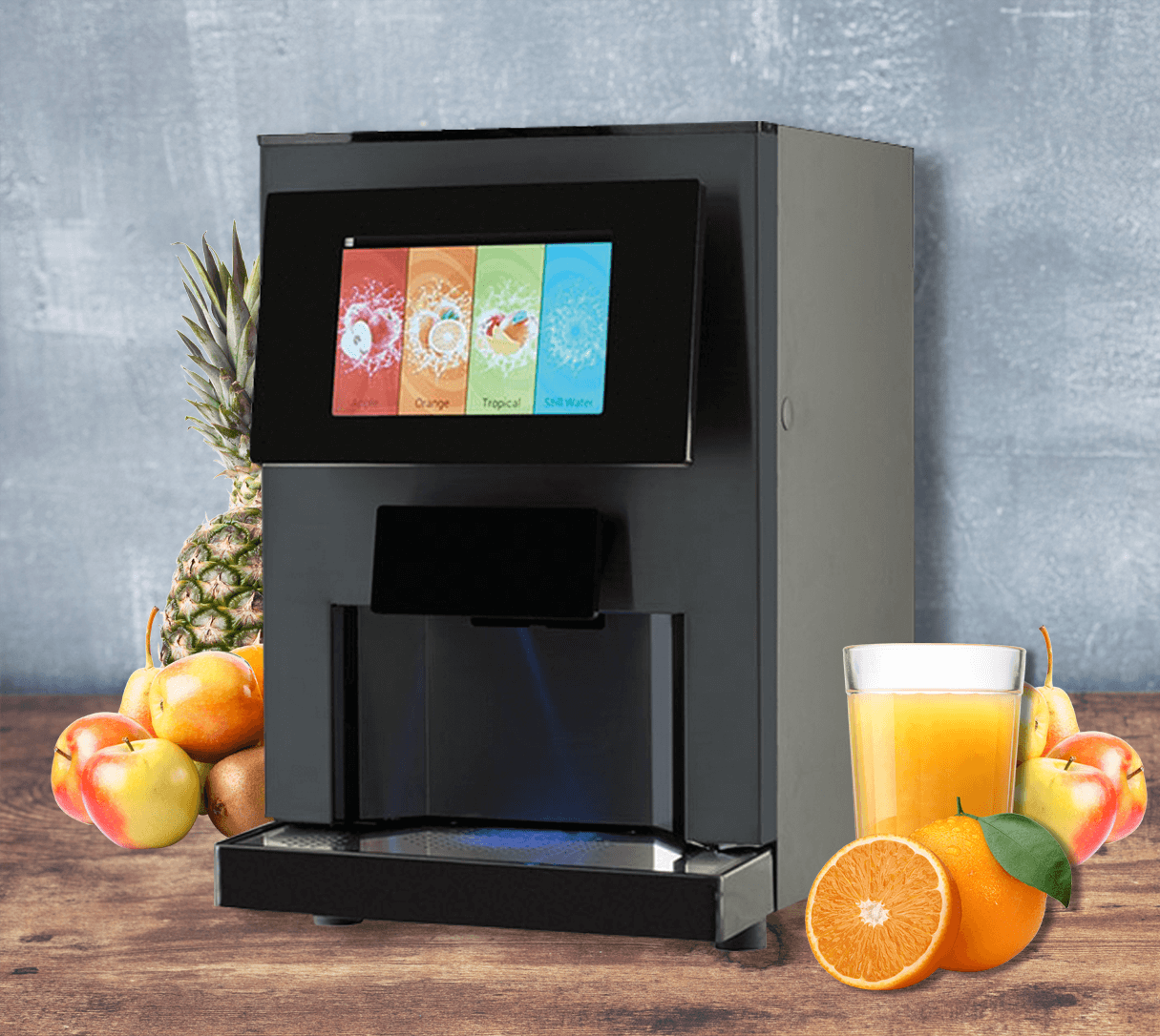 HLF juice machine with a selection of fruits