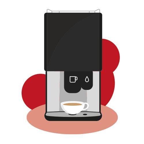 Instant coffee machine illustration