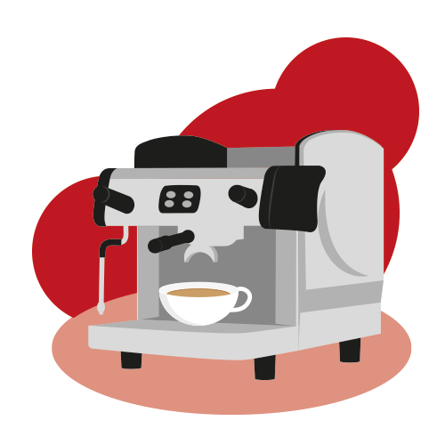 Traditional Espresso Coffee Machine Illustration