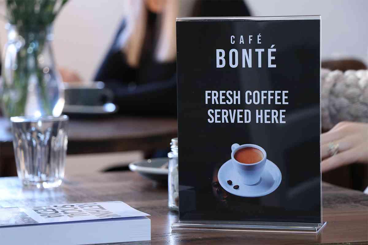 Café Bonté Coffee Shop Table Talker